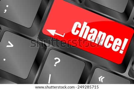 vector chance button on computer keyboard key - stock vector