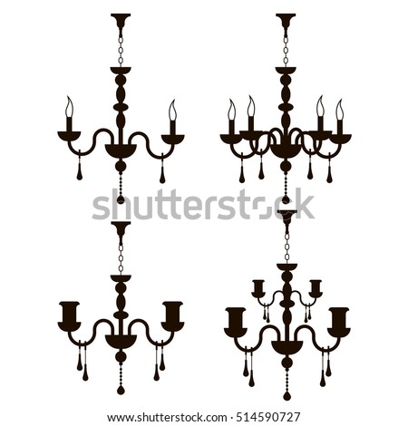 Vector Chandeliers Interior Furniture Icons Ceiling Stock Vector HD ...