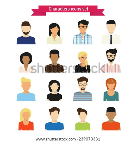 Vector characres icons set of modern people isolated on white - stock vector
