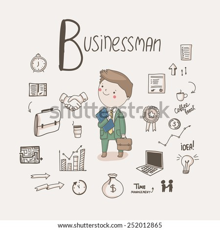 Vector character - Businessman with different business icons around isolated on light background - stock vector