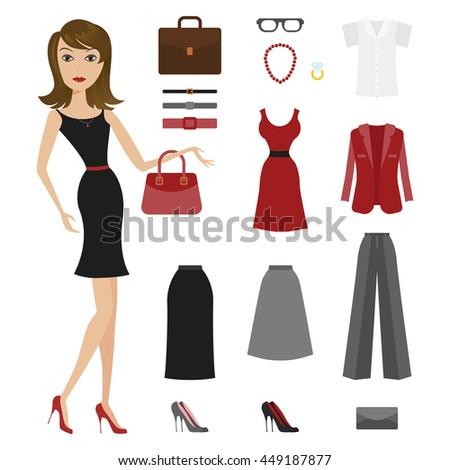Vector Character Cartoon Woman Girl Dress Stock Vector (2018 ...