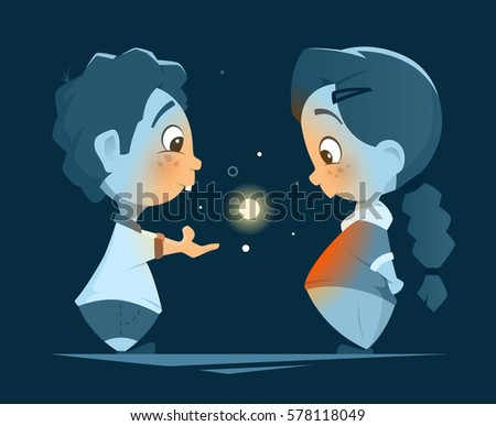 Vector character design illustration of two little kids, boy and girl, looking at magic light