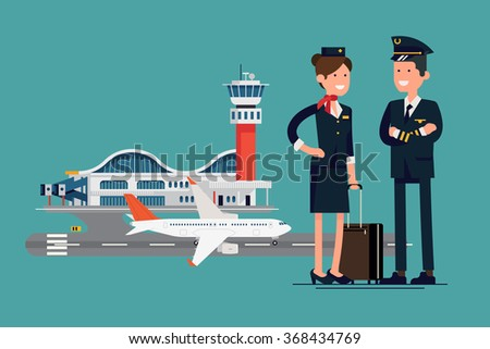 Vector character flat design on commercial civil pilot and flight attendant stewardess standing in front of airport with airliner plane on runway - stock vector