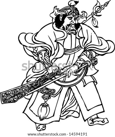 Vector Character from Wudaozi, a famous painter in Tang Dynasty of China-8