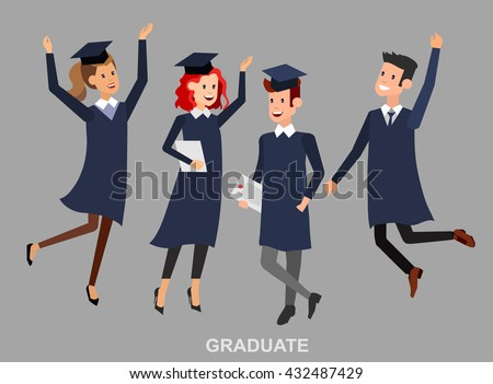 Vector character graduate and students, university students graduation. University courses, online education, exam preparation. University education banner, vector graduate, illustration graduate - stock vector