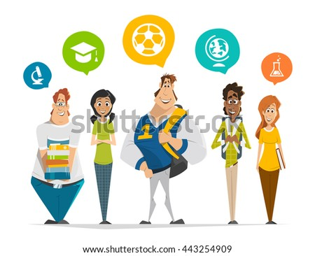 Vector character illustration of multinational group of students teenagers standing in a row Group photo
