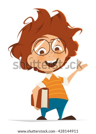 Vector character illustration of School kid with book and glasses pointing hand - stock vector