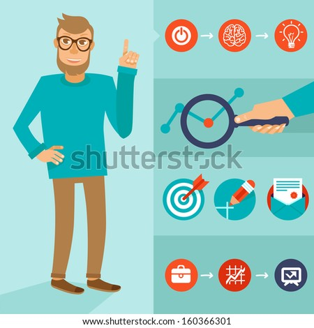 Vector character in flat style - smart man with idea - infographic elements - stock vector