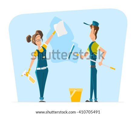 Vector character of smile woman and man in uniform cleaning big office or house window. - stock vector