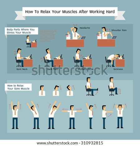 Vector character set of businessman get painful from working, and ways to release or relax muscles.  - stock vector