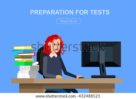 Vector character student woman. University courses, online education, exam preparation. University education banner, vector student