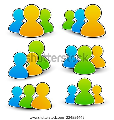 Vector characters, community icons - stock vector
