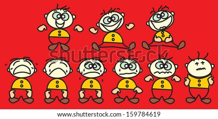vector characters with emotions,vector characters for animation,web site characters - stock vector