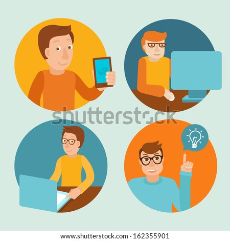 Vector characters working at computers - in flat retro style - stock vector