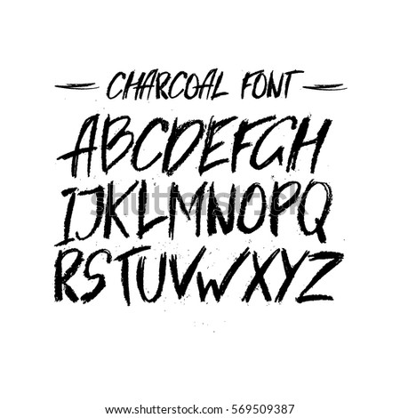 vector charcoal trendy cute font messy unique type with texture hand written type for