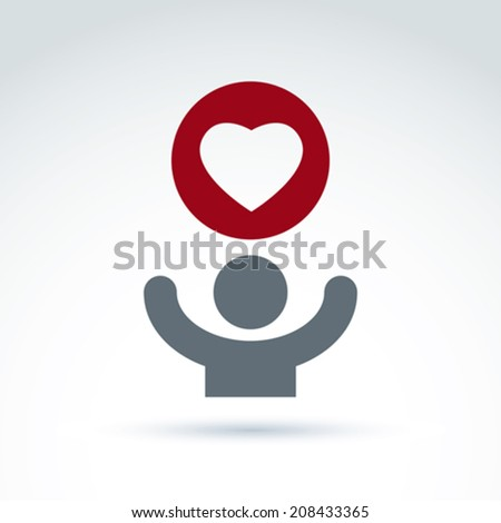 Vector charity and donation symbol. Illustration of a red loving heart and a human with hands up. Concept of assistance and volunteer. - stock vector