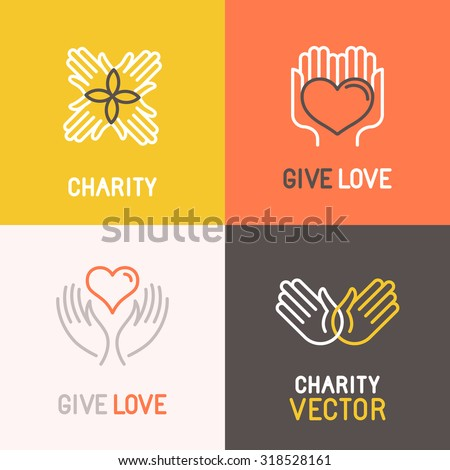 Vector charity and volunteer concepts and logo design elements in trendy linear style - emblems and signs for nonprofit and philanthropic organizations and centers - stock vector