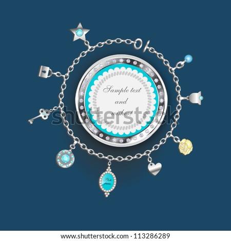 Vector charm bracelet doodle - stock vector