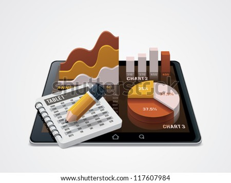 Vector chart and table editor or statistic representation icon. Includes bar chart, pie chart, notepad with pencil on the tablet screen