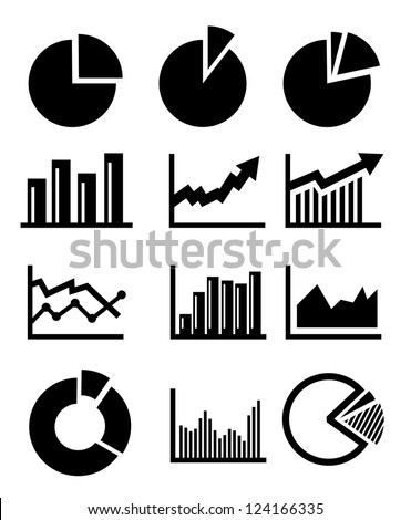 vector charts and graphs collection icons set - stock vector
