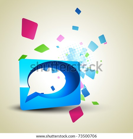 vector chat bubble in abstract background - stock vector