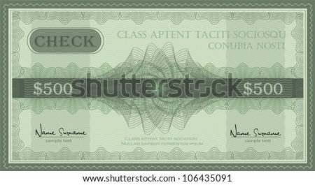 vector check guilloche security coupon - stock vector