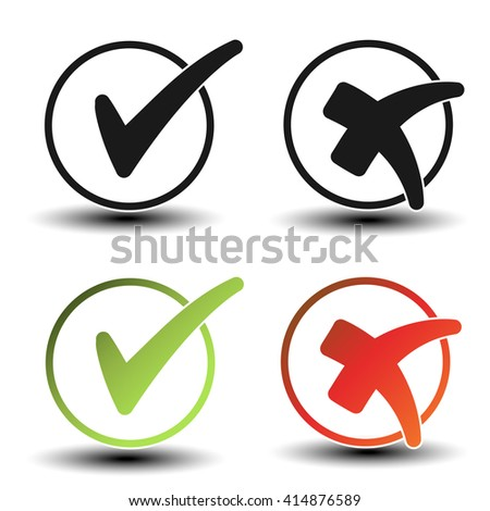 Vector check mark black, green and red simple symbols, circular buttons with shadow