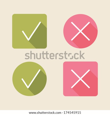 vector check mark icons. flat icons for web and mobile applications (flat design with long shadows)  - stock vector