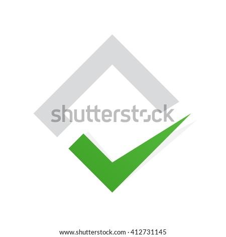 Vector check mark logo. Ok logo template icon. Yes logo element template design. Vote logo or icon. Check logo template.  - stock vector