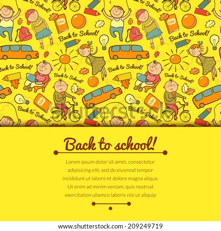 Vector cheerful background with children, back to school, with horizontally space for text - stock vector