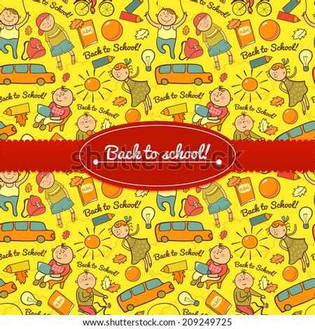 Vector cheerful background with children, back to school, with  ribbon and label  for text - stock vector