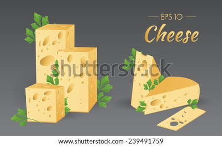 Vector Cheese with parsley - stock vector