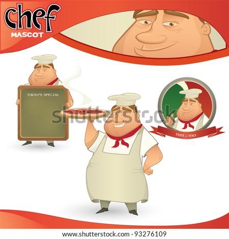 Vector chef - Italian restaurant mascot. Cartoon character with menu board, pizza and badge - stock vector