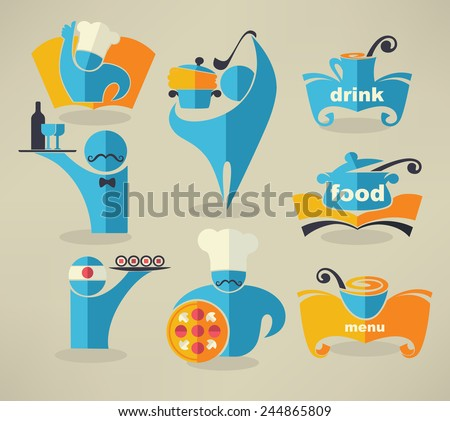 vector chef symbols and emblems - stock vector