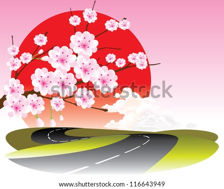 vector cherry blossom and road - stock vector