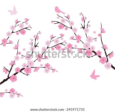 vector cherry blossom branches with birds - stock vector