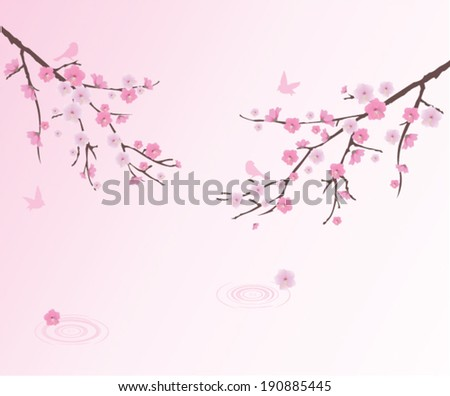 vector cherry blossom with birds and water circles