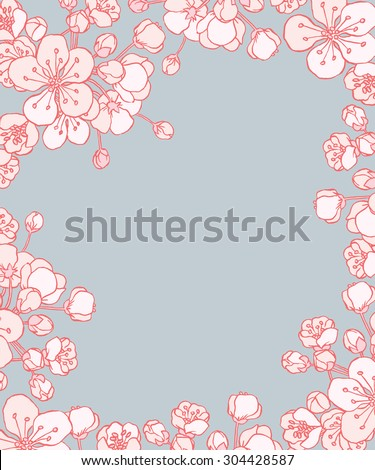 vector cherry or sakura floral frame for save the date card postcard flyer