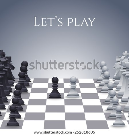Vector Chess Figures on board, black and white. Illustration - stock vector