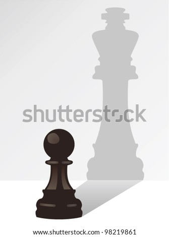 vector chess pawn with the shadow of a king - stock vector