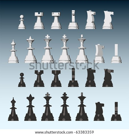 Vector chess pieces from different views