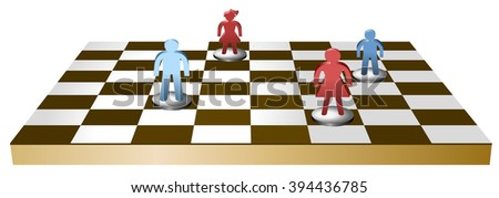 Vector chess table with separated family figures