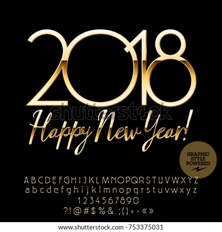 vector chic greeting card happy new year 2018 royal set of alphabet letters numbers