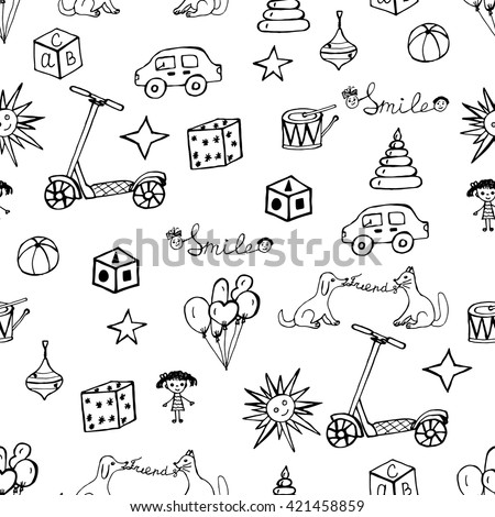 Vector child hand drawn pattern. Doodles kids design elements. Sketch toys and others symbols of childhood. Hand drawing toys.  Black sketch icons. Background with children's doodles. - stock vector