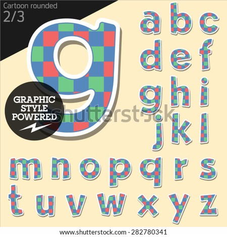 Vector children alphabet set in colorful square style. File contains graphic styles available in Illustrator. Lowercase letters - stock vector