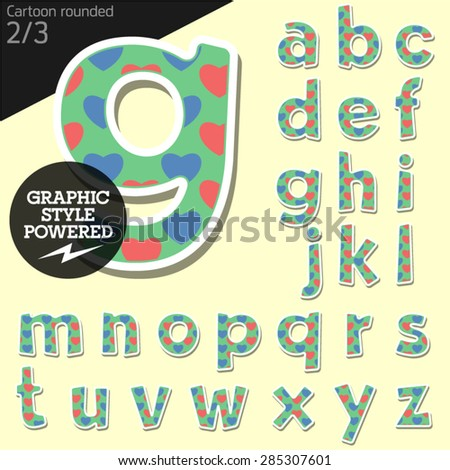 Vector children alphabet set in country style with colorful hearts. File contains graphic styles available in Illustrator. Lowercase letters - stock vector