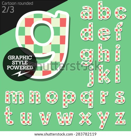 Vector children alphabet set in fresh mosaic style. File contains graphic styles available in Illustrator. Lowercase letters - stock vector