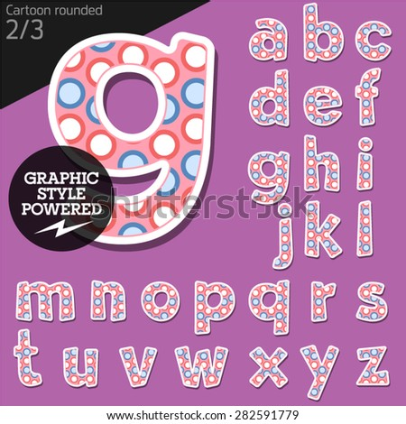 Vector children alphabet set in funny dots style. File contains graphic styles available in Illustrator. Lowercase letters - stock vector