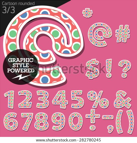 Vector children alphabet set in original candy style. File contains graphic styles available in Illustrator. Symbols and numbers - stock vector