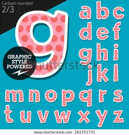 Vector children alphabet set in sweet dots style. File contains graphic styles available in Illustrator. Lowercase letters - stock vector